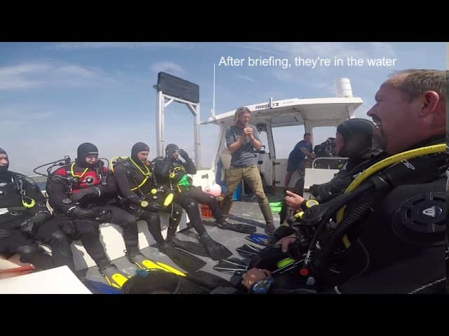 Wreck of the SS Mohegan briefing before diving in the water