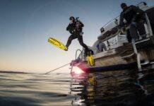 Diver Giant Stride Dusk Dive