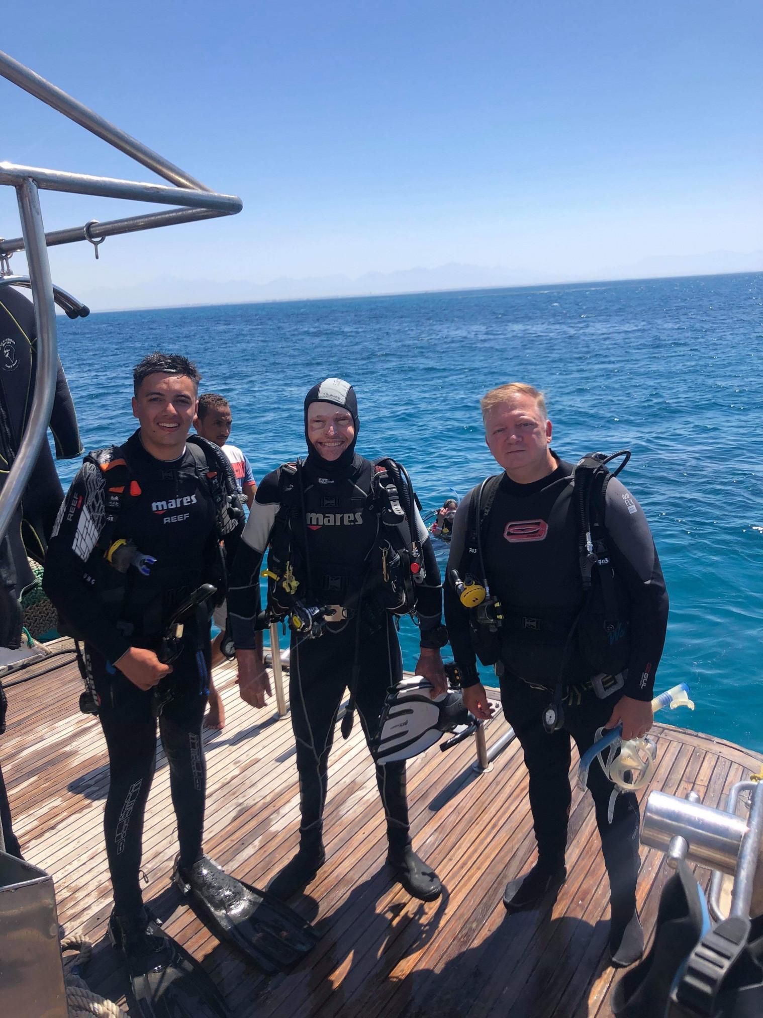 Jamie Hull wearing a diving suit