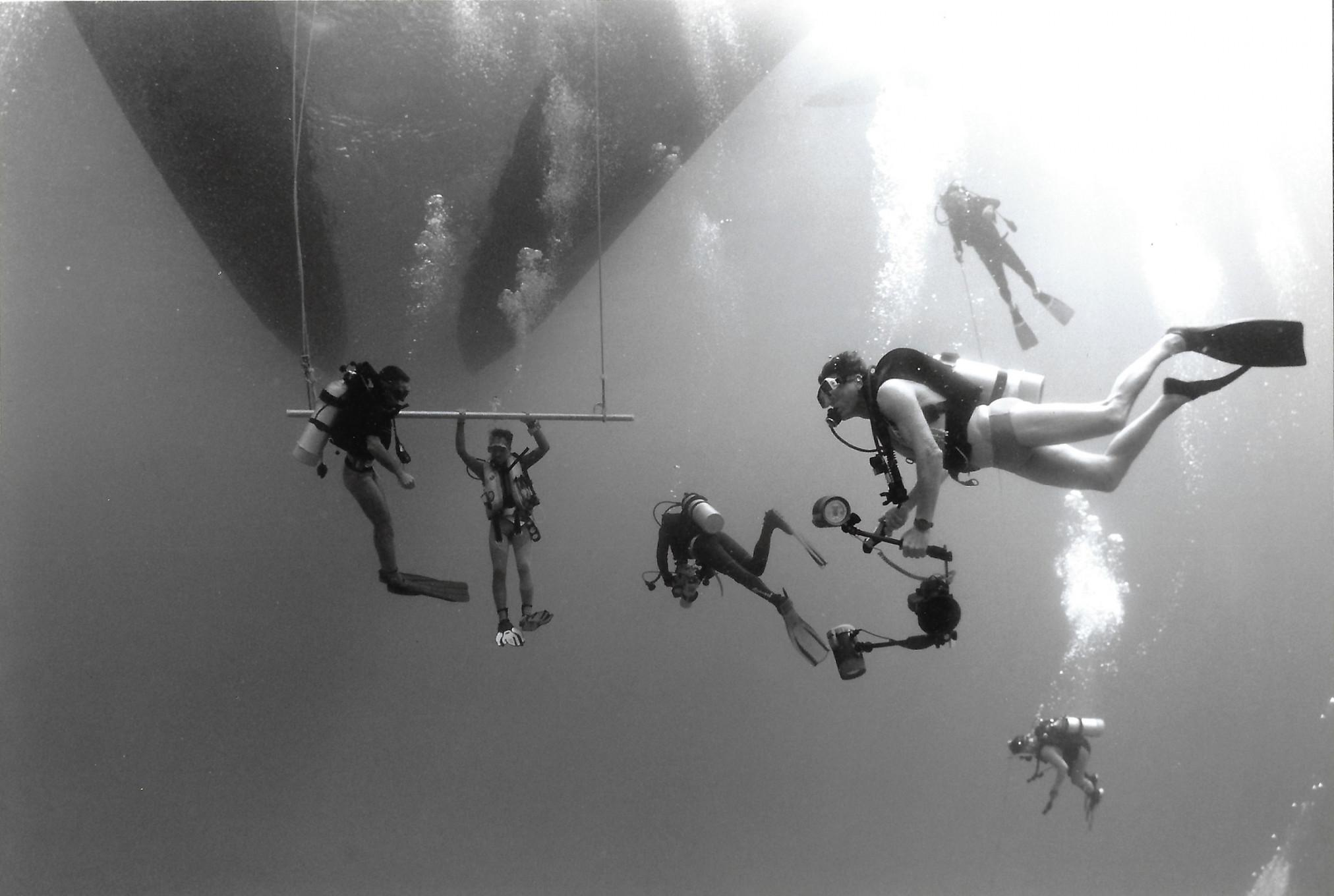 Mike Ball (Front Right) Diving in the Good old days