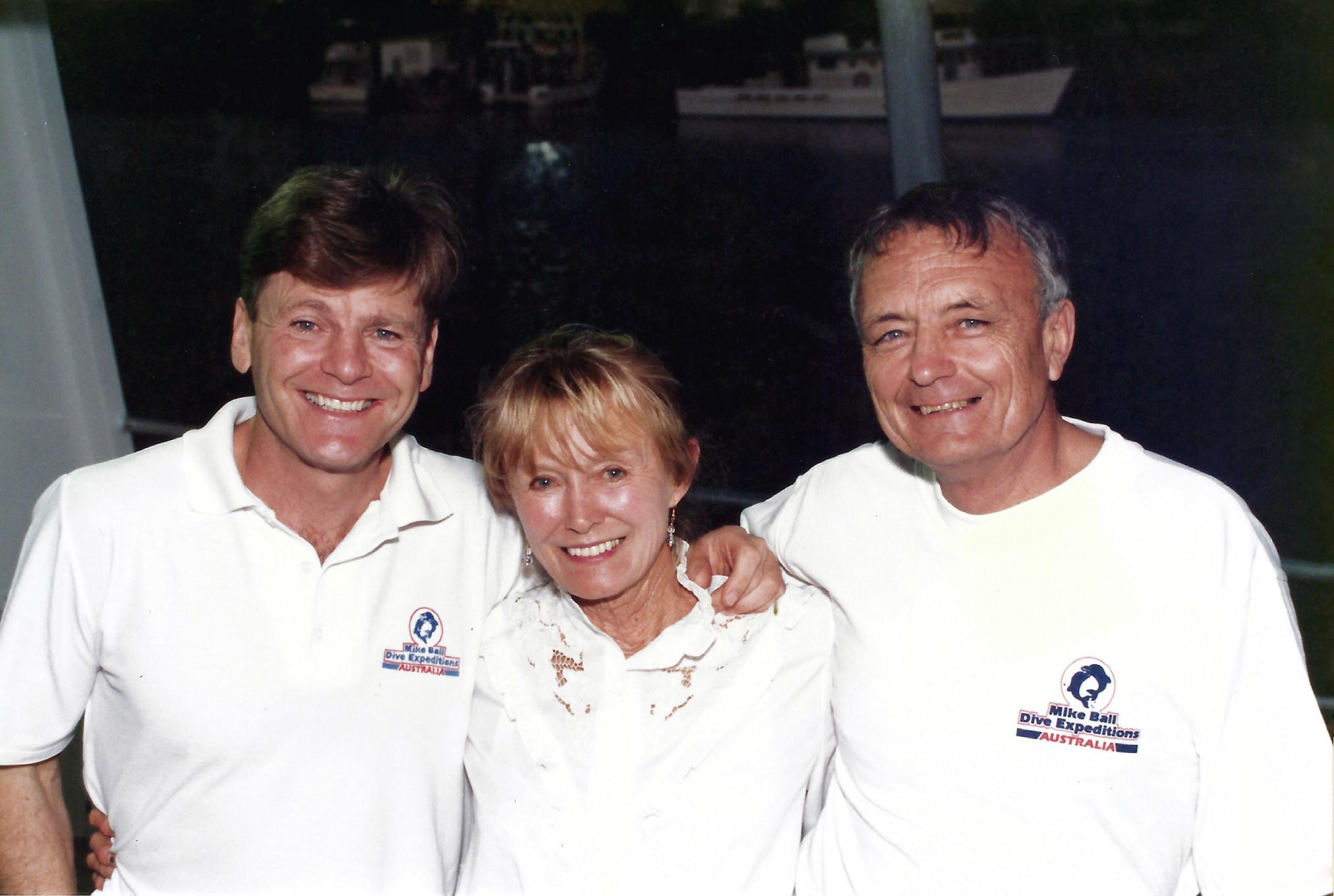Mike Ball with Ron and Valarie Taylor