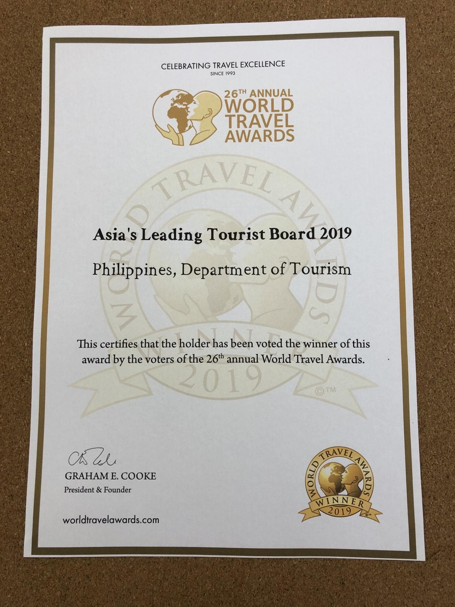 World Travel Awards 2019 Certificate