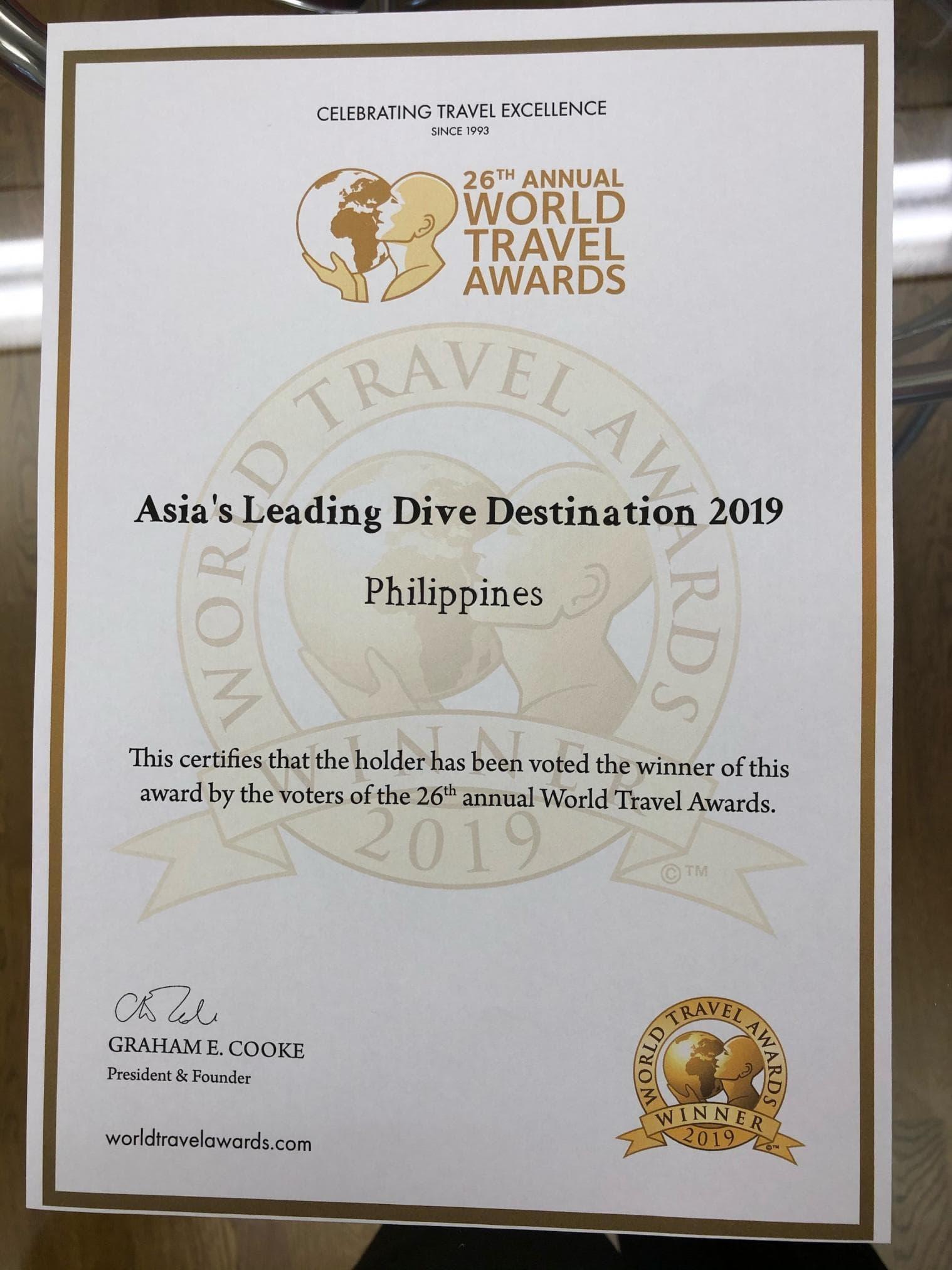 Asia's leading dive designations 2019 award certificate