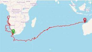 Satellite Map of Yoshi's journey