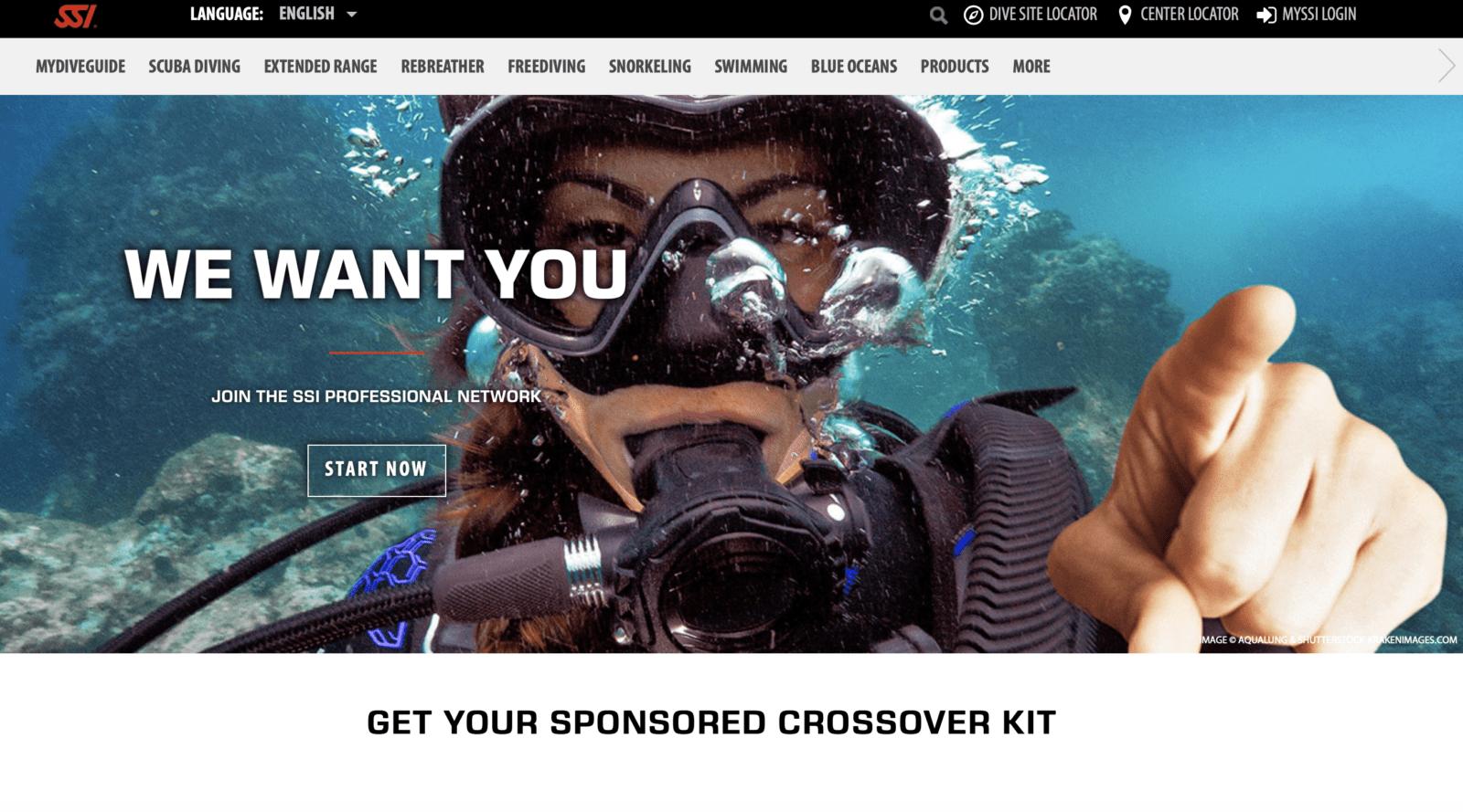 Scuba training agency website screenshot