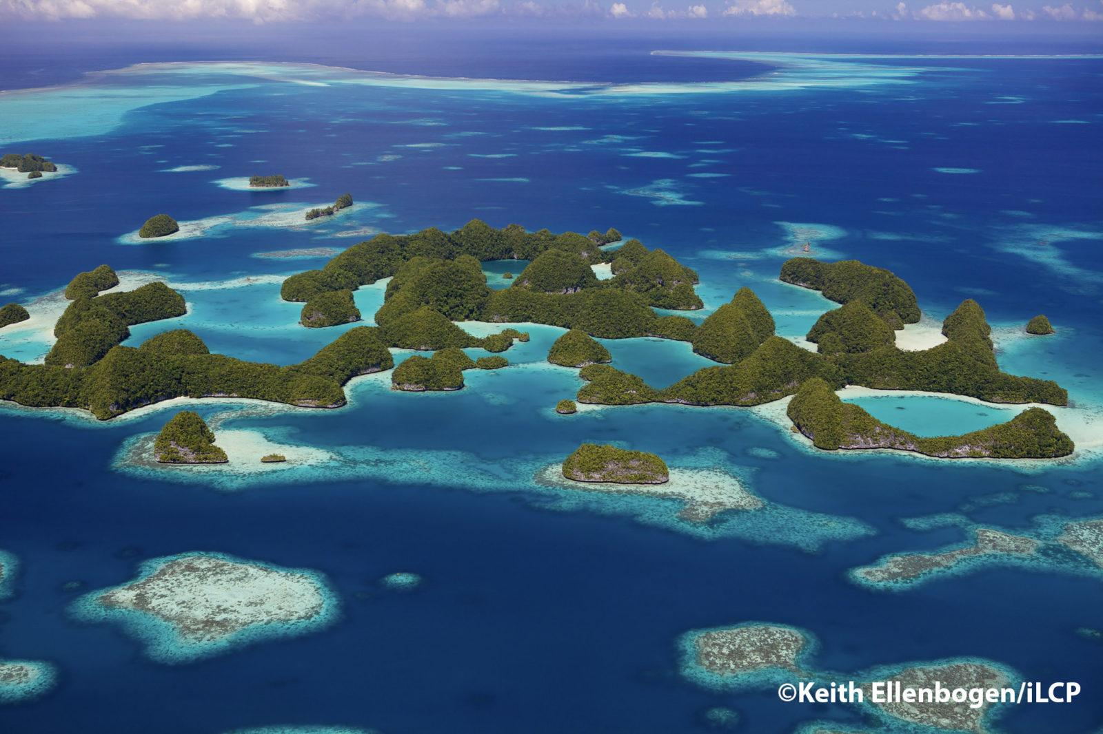 The Ngerukewid Islands or Seventy Islands are Palau's iconic island landscape symbolizing pristine beauty. The Seventy Islands (literally translated from Palau's name Ngerukuid meaning seventy). These islands are part of the Rock Islands an archipelago that includes approximately 250 to 300 islands in the group. The Islands were in part formed from limestone of accent coral reefs and coral uprisings. The Rock Islands are a World Heritage Site since 2012.