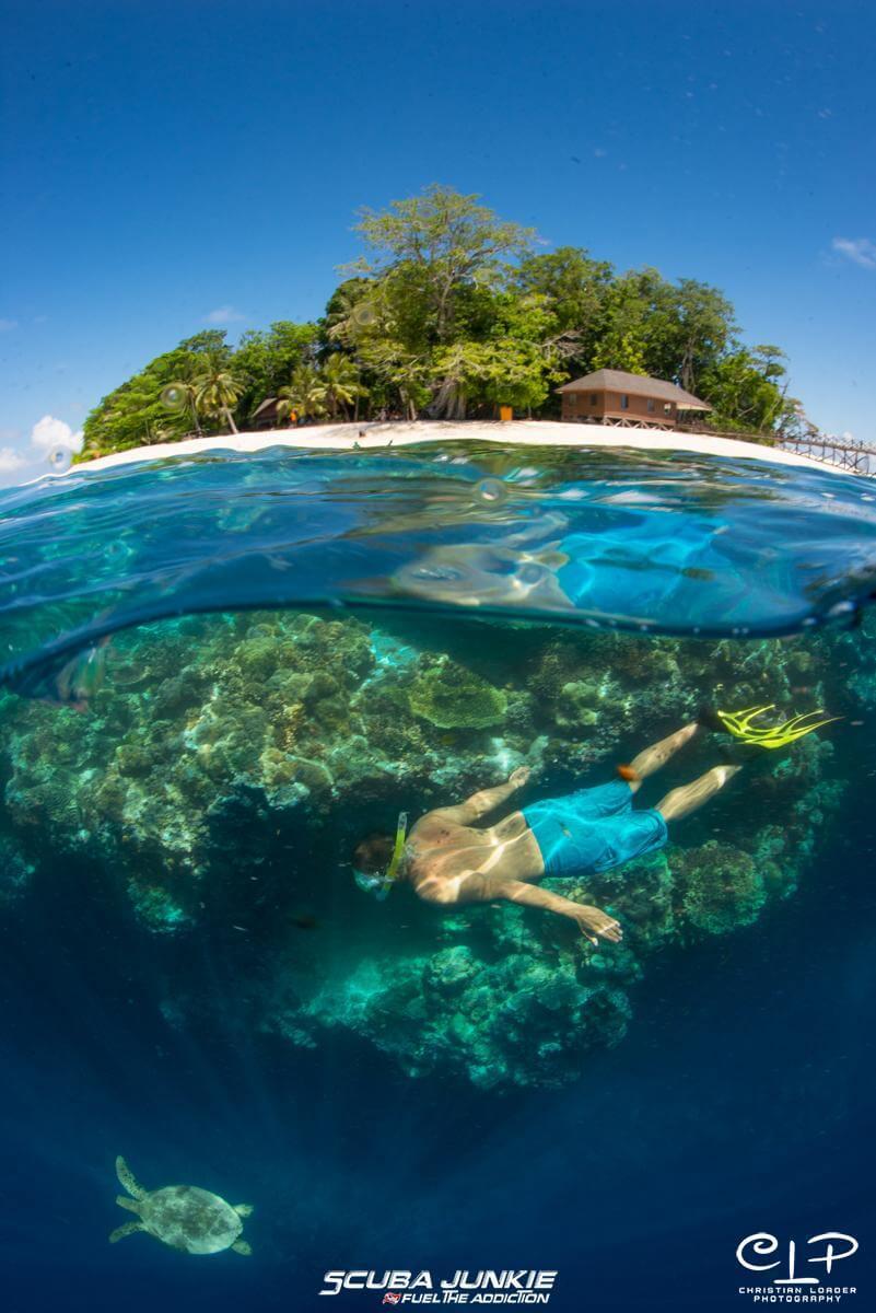 A snorkeller enjoying the underwater world at Pulau Sipadan with Scuba Junkie (Photo credit: Christian Loader)