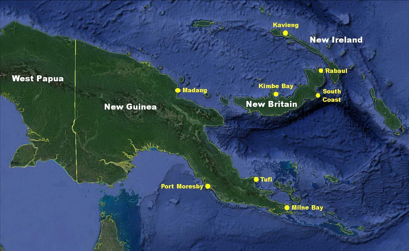 Papua New Guinea Map, Main Areas
