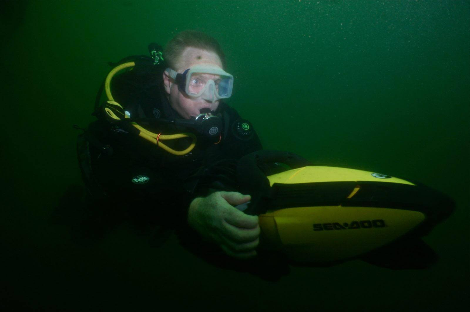 Scuba Diver using an Underwater Scooter