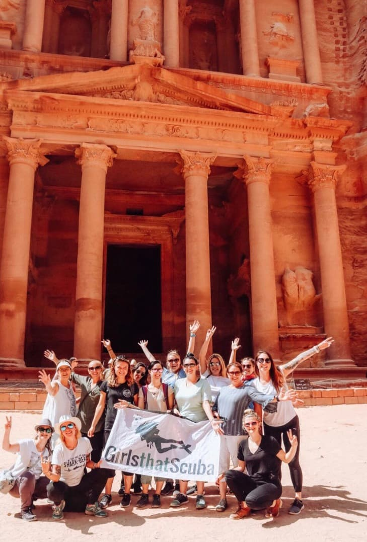 Girls That Scuba in front of Petra a Historical place in Jordan
