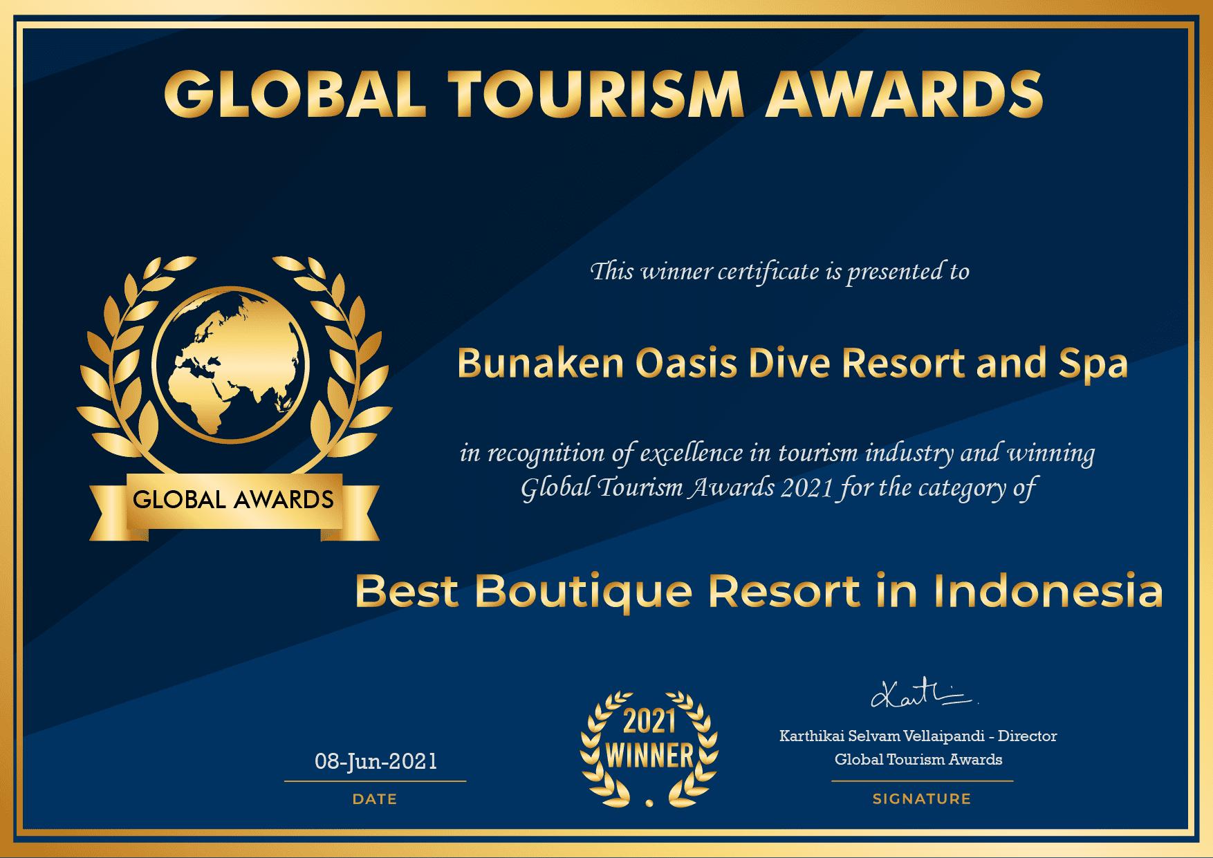 Global Tourism Awards winner certificate